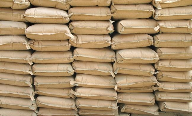 Rows of stacked sacks