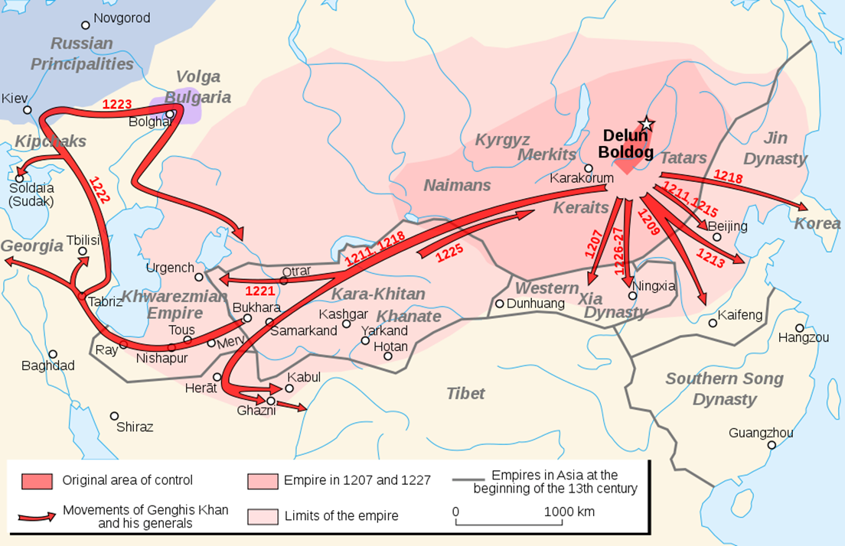 Map of the expansion of Mongol Empire