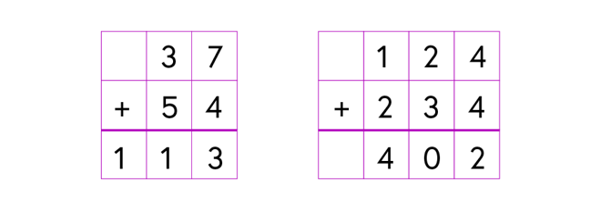 Two calculations are shown in number bases that are not base 10: 37 + 54 = 113 and 124 + 234 = 402