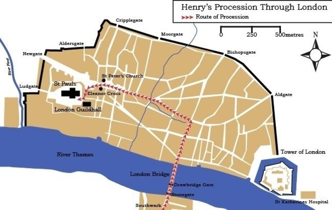 Henry's procession through London © University of Southampton