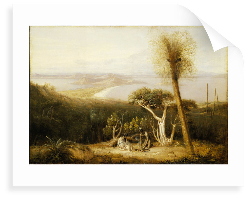 Two figures, one seated and clothed in white, the other semi-clothed, sit between trees with view of bay in background