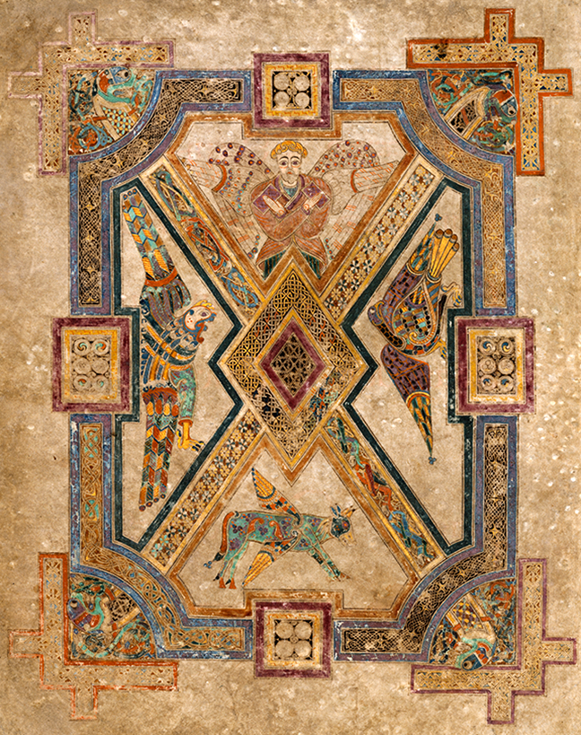 Figure 1, from the Book of Kells, symbols of the four evangelists
