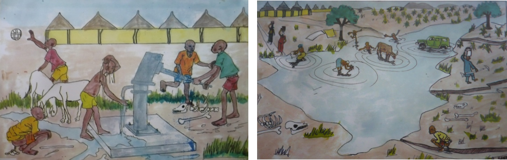 examples of pictures used by water committees as part of an overall PHAST approach to hygiene and sanitation education.