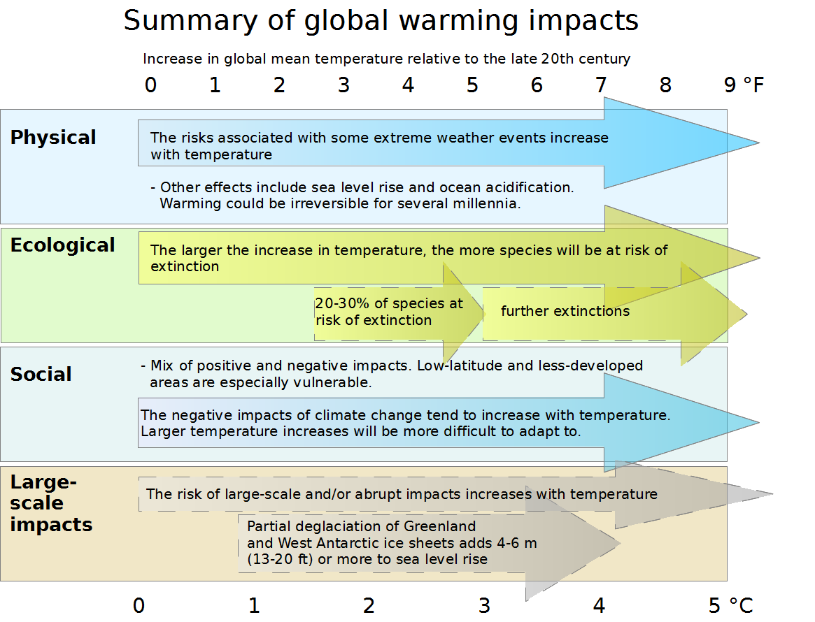 """IPCC WGIII AR4 Synthesis Report Summary - Impacts of global warming. This diagram summarizes the effects of global warming. Impacts of climate change are plotted against changes in global mean temperature. Physical, ecological, social, and """"large-scale"""" impacts are plotted against global mean temperature increases (above the 1980-1999 level) from 0 to 5 degrees Celsius. Add 0.5 °C to measure impacts relative to pre-industrial temperatures. The arrows on the diagram show that impacts tend to become more pronounced for higher magnitudes of warming. Solid arrows indicate that the projected impact is known with a high level of certainty, while dashed arrows indicate less certainty. Physical impacts The risks associated with some extreme weather events increase with temperature (high confidence). Other effects include sea level rise and ocean acidification. Warming could be irreversible for several millennia. Ecological impacts The larger the increase in temperature, the more species will be at risk of extinction. 20-30% of species at risk of extinction (medium confidence) (1.5-2.5 °C / 2.7 – 4.5 °F) further extinctions (3 °C / 5.4 °F and above) Social impacts Mix of positive and negative impacts. Low-latitude, less-developed areas are especially vulnerable. The negative impacts of climate climate change tend to increase with temperature. Larger temperature increases will be more difficult to adapt to. Large-scale impacts The risk of large-scale and/or abrupt impacts increases with temperature. Partial deglaciation of Greenland and West Antarctic ice sheets adds 4-6 metres (13-20 feet) or more to sea level rise (medium confidence) (1 to 4 °C / 1.8-7.2 °F)."""