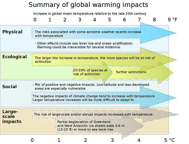 "IPCC WGIII AR4 Synthesis Report Summary - Impacts of global warming.  This diagram summarizes the effects of global warming. Impacts of climate change are plotted against changes in global mean temperature. Physical, ecological, social, and ""large-scale"" impacts are plotted against global mean temperature increases (above the 1980-1999 level) from 0 to 5 degrees Celsius. Add 0.5 °C to measure impacts relative to pre-industrial temperatures.  The arrows on the diagram show that impacts tend to become more pronounced for higher magnitudes of warming. Solid arrows indicate that the projected impact is known with a high level of certainty, while dashed arrows indicate less certainty. Physical impacts The risks associated with some extreme weather events increase with temperature (high confidence). Other effects include sea level rise and ocean acidification. Warming could be irreversible for several millennia. Ecological impacts The larger the increase in temperature, the more species will be at risk of extinction. 20-30% of species at risk of extinction (medium confidence) (1.5-2.5 °C / 2.7 – 4.5 °F) further extinctions (3 °C / 5.4 °F and above) Social impacts Mix of positive and negative impacts. Low-latitude, less-developed areas are especially vulnerable. The negative impacts of climate climate change tend to increase with temperature. Larger temperature increases will be more difficult to adapt to. Large-scale impacts The risk of large-scale and/or abrupt impacts increases with temperature. Partial deglaciation of Greenland and West Antarctic ice sheets adds 4-6 metres (13-20 feet) or more to sea level rise (medium confidence) (1 to 4 °C / 1.8-7.2 °F)."