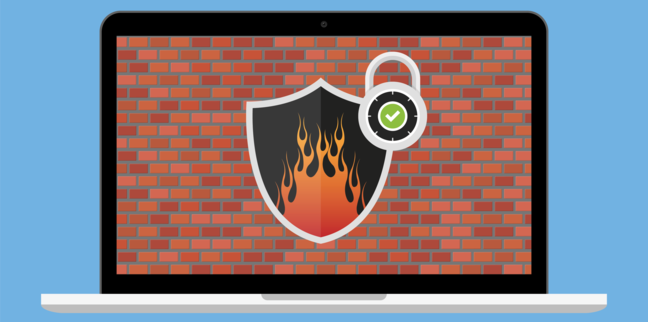 Laptop with firewall network security concept vector illustration