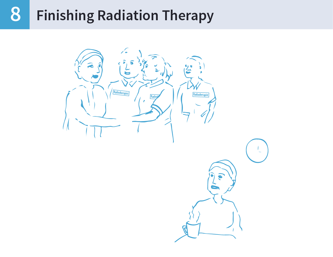 An illustration of a woman shaking hands with the Radiation Therapy team and then sitting at a desk drinking a cup of tea.