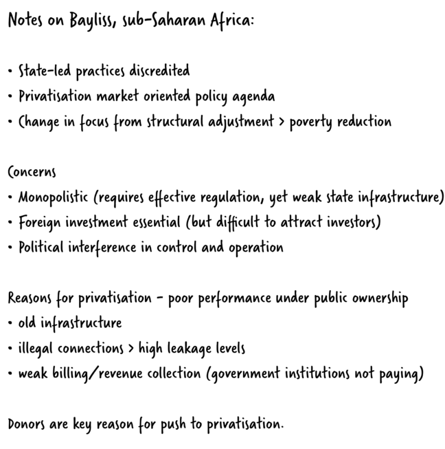 An example of the student's notes which reads:  **Notes on Bayliss, sub-Saharan Africa:** •State-led practices discredited •Privatisation -  market oriented policy agenda •Change in focus from structural adjustment -  poverty reduction Concerns •Monopolistic (requires effective regulation, yet weak state infrastructure) •Foreign investment essential (but difficult to attract investors) •Political interference in control and operation Reasons for privatisation - poor performance under public ownership  •old infrastructure  •illegal connections > high leakage levels •weak billing/revenue collection (government institutions not paying) Donors are key reason for push to privatisation.