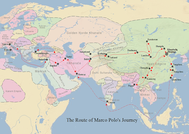 A map of Marco Polo's travels