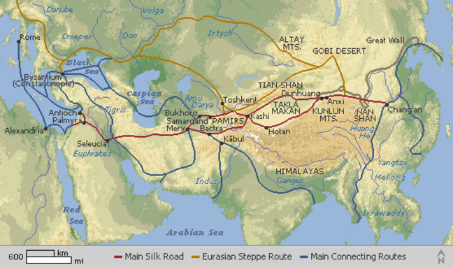 Map showing the main trade routes between China and Europe, called the Silk Road