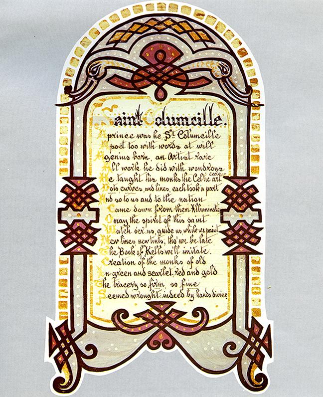 Figure 9, a painted linen banner