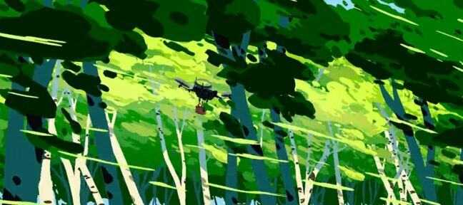 Still from Ciclope featuring a delivery drone flying through a lush forest with trees of varying shades of green