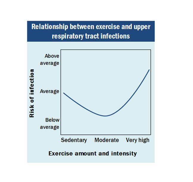 Chart showing relationship between risk of infection and Exercise amount and intensity