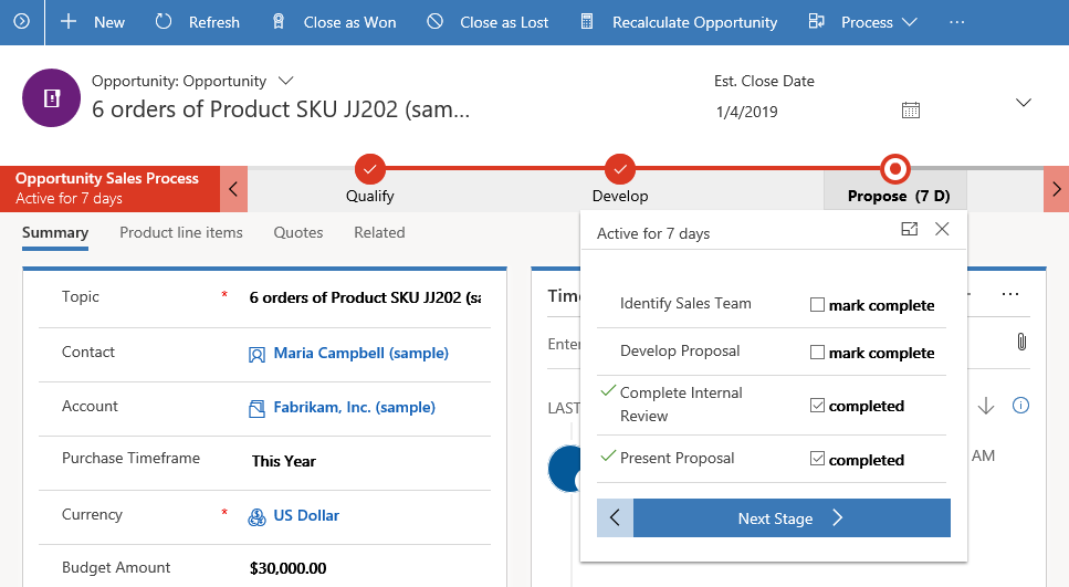 Screenshot of stages in the Sales Business Process