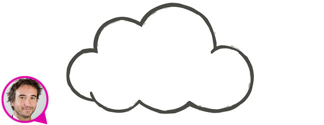 Illustration of a cloud (representing a platform). Underneath is a photograph of Mischa Dohler in a speech bubble, indicating that the following text are his words.