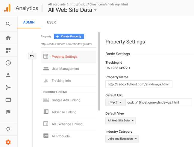 The Google Analytics page for setting up the data views