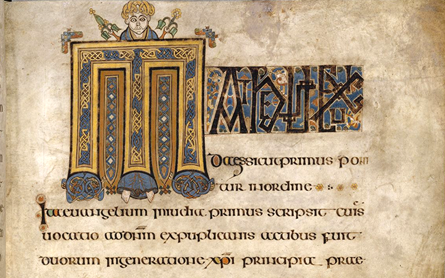 folio 12r, from the Book of Kells, the opening word of the Argumentum of Matthew