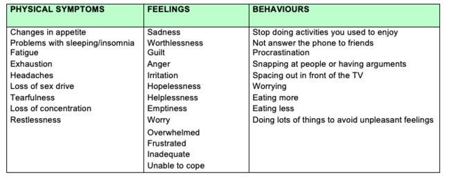 Chart with examples of physical symptoms, feelings, and behaviours of the depression cycle
