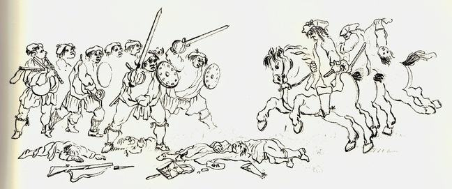 contemporary drawings show a mixture of humor, caricature and fear towards the clansmen and chiefs