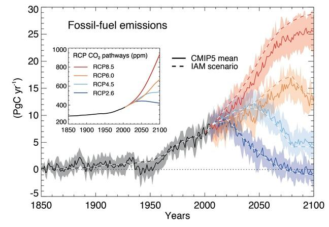 4 different scenarios of carbon emissions from 2000 to 2100. RCP 2.6 shows that carbon emissions will peak at 10 PgC per year by 2020 and decline to 0 by 2100. RCP 4.5 shows that carbon emissions will 12 PgC per year by 2040 and decline to 5 by 2100. RCP 6.0 shows that carbon emissions will peak at 18 PgC per year by 2075 and decline to 14 by 2100. RCP 8.5 shows that carbon emissions will not peak before 2100, but continue rising beyond the end of the century.