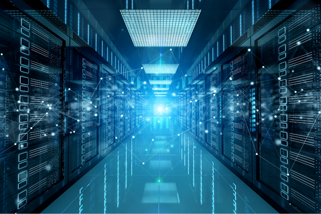 A composite photo of a data centre with an overlay of networked points in space