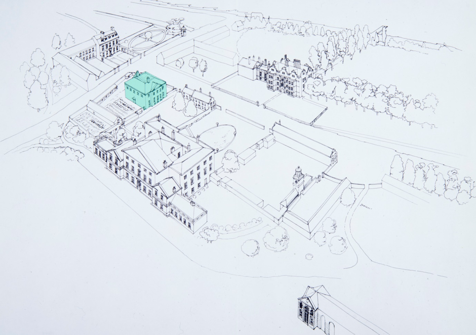 A technical sketch on white background with a building on the left side of the picture, highlighted in green