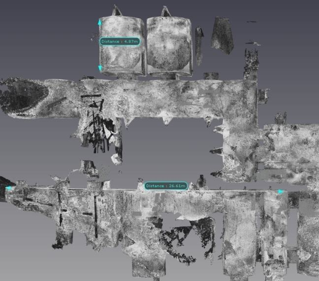 Top down view of laser scan data showing size of some of the rooms