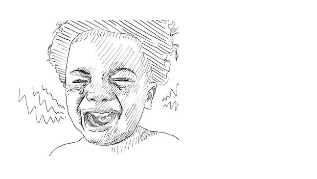 Illustration of a young child crying