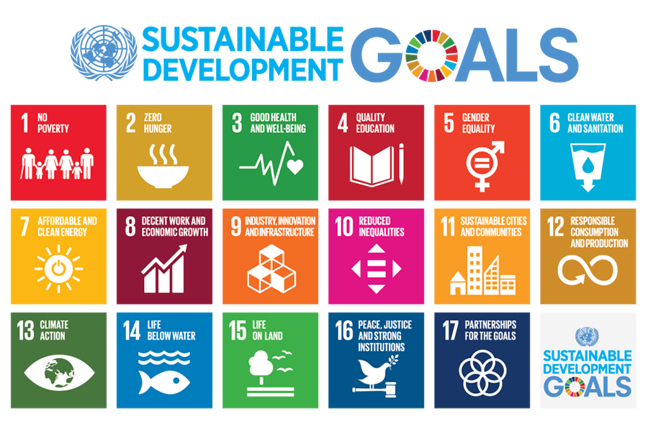 The 17 Sustainable Development Goals are: 1. No Poverty, 2. Zero hunger, 3. Good health and well-being, 4. Quality education, 5. Gender equality, 6. Clean water and sanitation, 7. Affordable and clean energy, 8. Decent work and economic growth, 9. Industry, innovation and infrastructure, 10. Reduced inequalities, 11. Sustainable cities and communities, 12. Responsible consumption and production, 13. Climate action, 14. Life below water, 15. Life on land, 16. Peace, justice and strong institutions, 17. Partnerships for the goals.