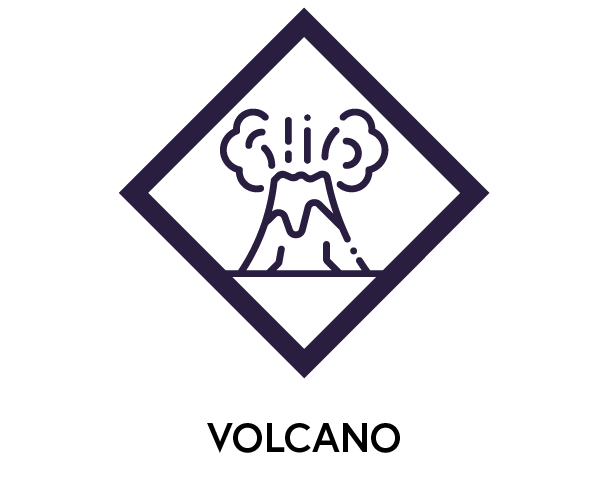 Symbol to show volcanic activity