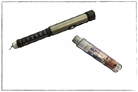 Picture of cracked insulin cartridge and bent insulin needle