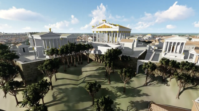 Digital model of 3 temples close together