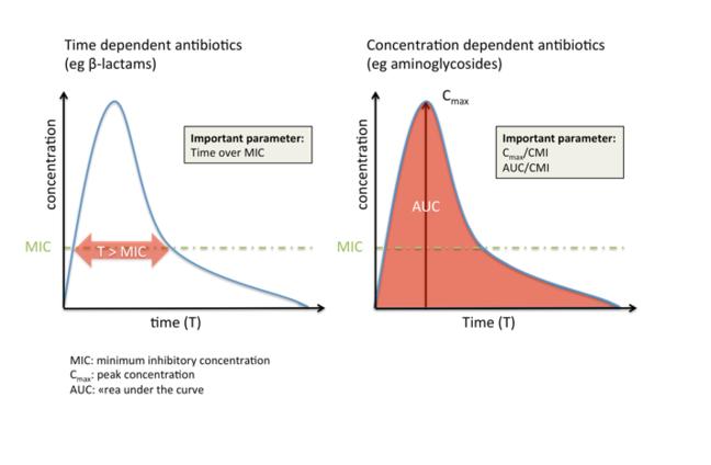 此处显示的两幅图:一幅代表时间依赖性抗生素,另一幅代表浓度依赖性抗生素。对于时间依赖性抗生素,最小抑菌浓度显示为 MIC 线,且与高于 MIC 的时间曲线相交(Y 轴为浓度;X 轴为时间。对于浓度依赖性抗生素,图中显示的 Y 轴为浓度,X 轴为时间,Cmax 浓度在曲线顶点,MIC 在曲线下面积之下