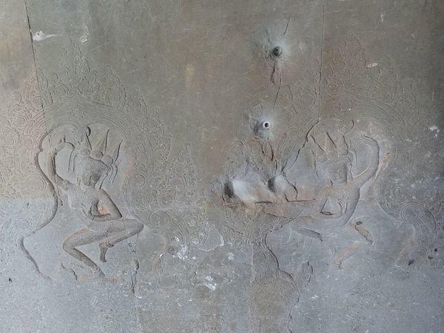 Angkor Wat bullet holes