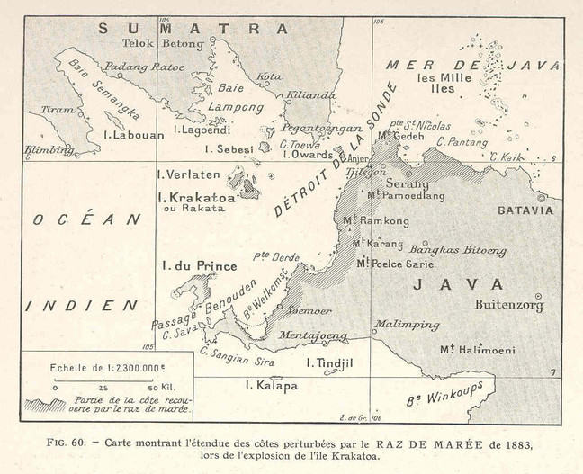 A map from 1883 of Krakatoa island showing its location inbetween the islands of Java and Sumatra