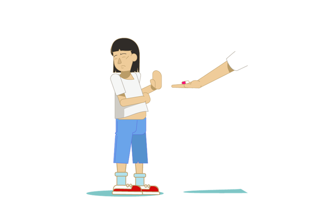 An illustration of a girl with Down syndrome who has her arms crossed and is turning away from a hand with two pills