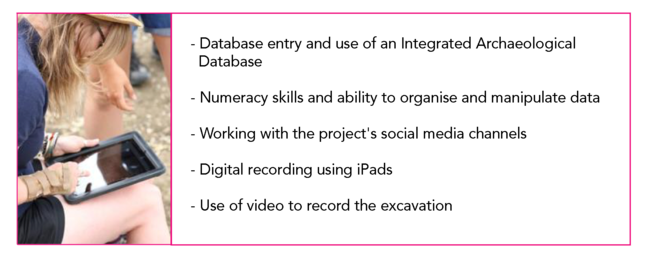 -Database entry and use of an Integrated Archaeological Database - Numeracy skills and ability to organise and manipulate data - Working with the project's social media channels - Digital recording using iPads Use of video to record the excavation
