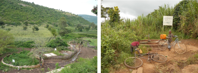Groundwater resources: photo of spring in Ethiopia and hand pump on hand dug well in Tanzania.