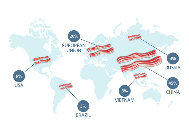 Map of world showing pork production: 9% USA, 20% EU, 3% Brazil, 3% Vietnam, 45% China, 3% Russia