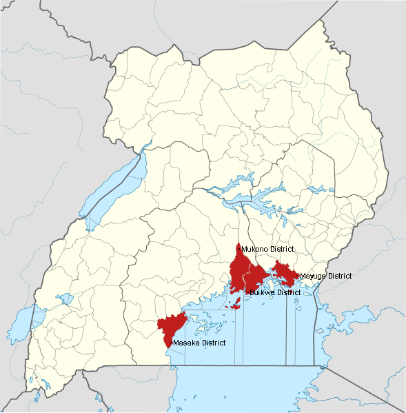 Map with Mayuge, Buikwe, Mukono, & Masaka districts highlighted