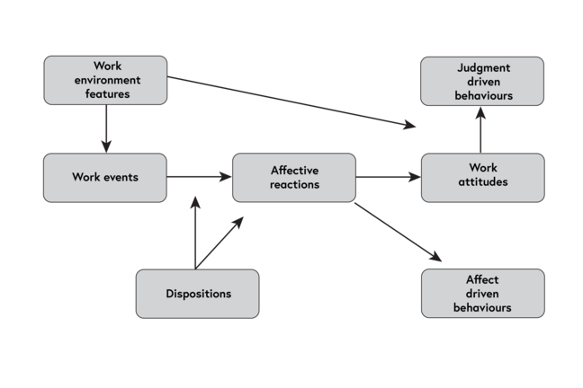 Diagram. Work environment features points to Work attitudes and Work events which in turn points to Affective reactions. Dispositions also points to Work events and Affective reactions. Affective reactions, in turn, points to Affect driven behaviours and Work attitudes which points to Judgment driven behaviours.