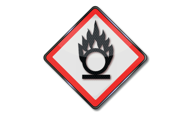Risk of fire due to oxidizers sign