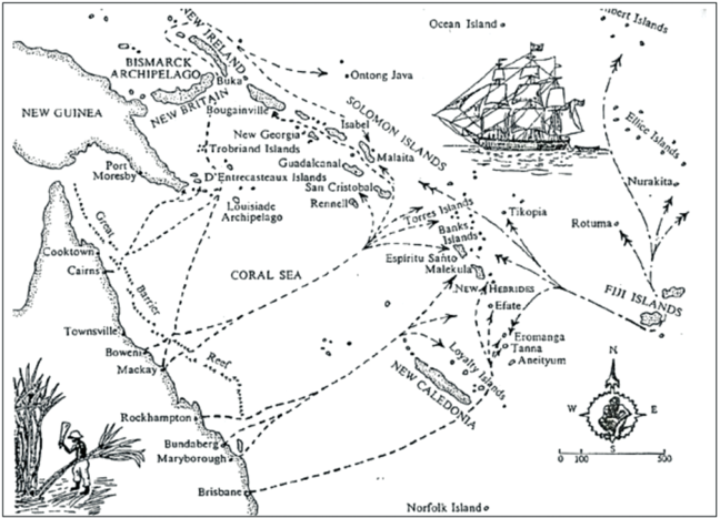 Labor Recruiting Routes in the Southwest Pacific showing map of routes from Australia across the Coral Sea to Solomon Islands, New Hebrides, Tanna, Fiji islands, etc