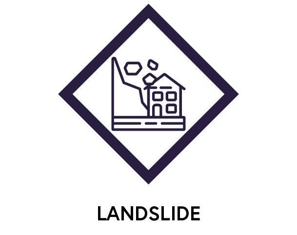 Symbol to show landslides
