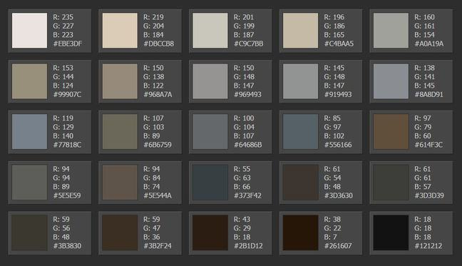 Palette 1 - muted grey blues