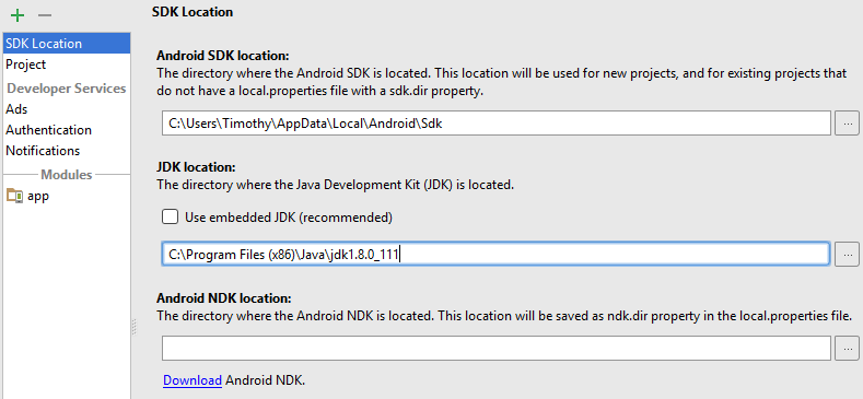 Project Structure Dialogue with JDK location updated