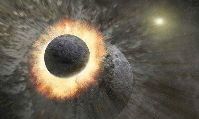 Artists impression of a huge meteor colliding with Earth and scattering debris across space that led to the formation of the Moon