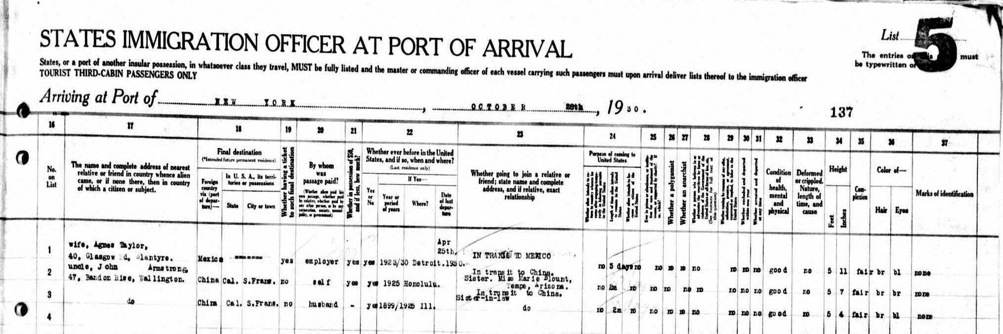 passenger manifest document detail right side