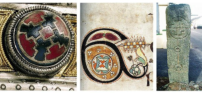 figures 1-3, a glass ornamental stud, a motif based on a glass stud featured in the Book of Kells, and a similar motif depicted on a pillar stone, respectively