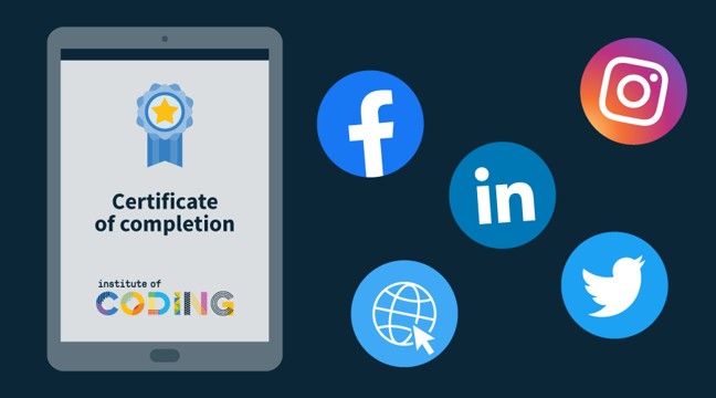 Illustration showing a Certificate of Achievement and social media sharing icons
